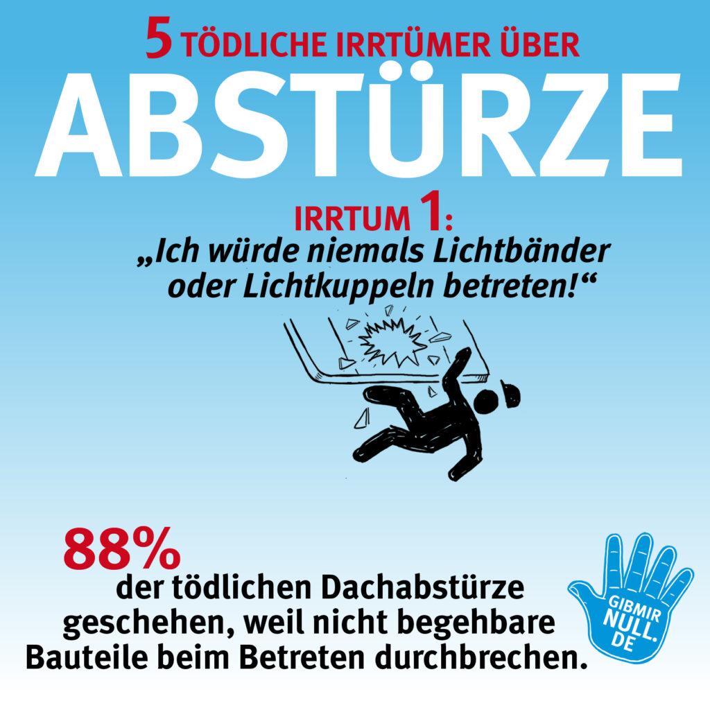 Irrtum 1: Ich würde niemals Lichtbänder oder Lichtkuppeln betreten! - 88% der tödlichen Dachabstürze geschehen, weil nicht begehbare Bauteile beim Betreten durchbrechen