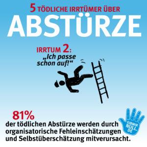 Irrtum 2: Ich passe auf! - 81% der tödlichen Abstürze werden durch organisatoische Fehleinschätzungen und Selbstüberschätzung mitverursacht