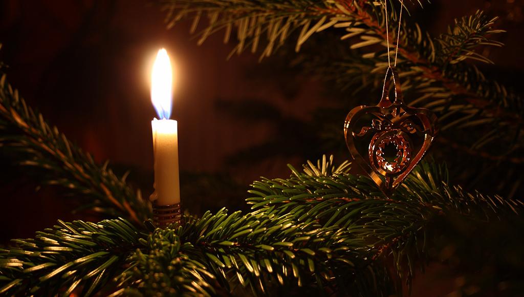 Es ist eine Kerze auf einem Ast eines Weihnachtsbaums zu sehen