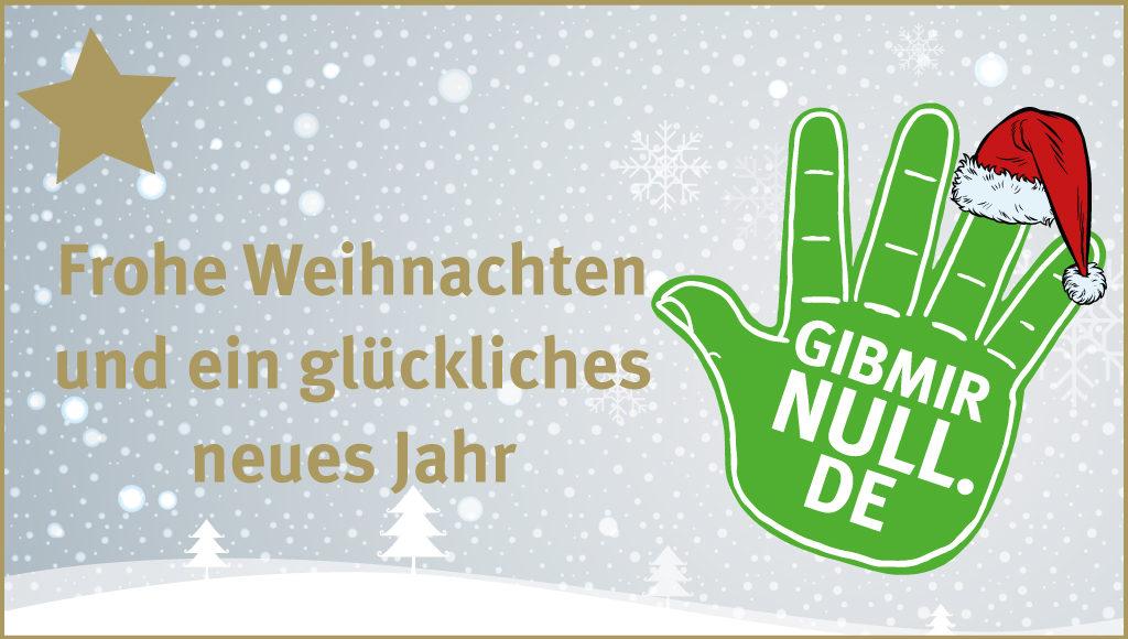 """Das Bild zeigt das Logo der Kampagne mit einem Nikolaushut und dem Schriftzug """"Frohe Weihnachten und ein glückliches neues Jahr"""""""