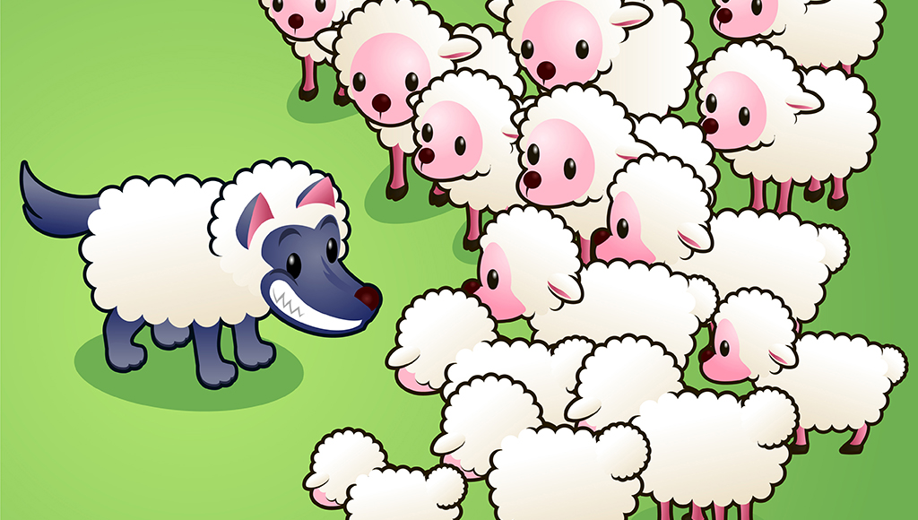 Ein Wolf im Schafspelz steht vor einer Herde mit Schafen