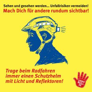 Sehen und gesehen werden: Mach dich sichtbar: Trage beim Radfahren immer einen Schutzhelm mit Licht und Reflektoren!