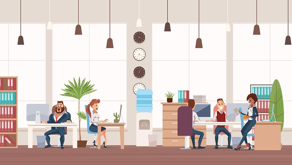 Auf dem Bild sind fünf Menschen an ihren Büroarbeitsplätzen zu sehen