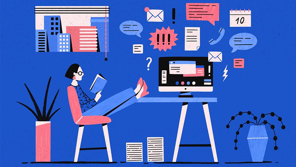 Das Bild zeigt eine Frau, die an ihrem Schreibtisch die Füße hochgelegt hat und ein Buch liest.