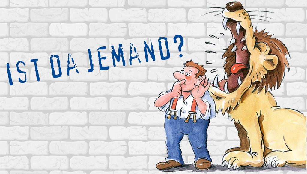 Gemaltes Bild zeigt einen Mann der trotz einem lauten Brüllen eines Löwen nur schwer hören kann.