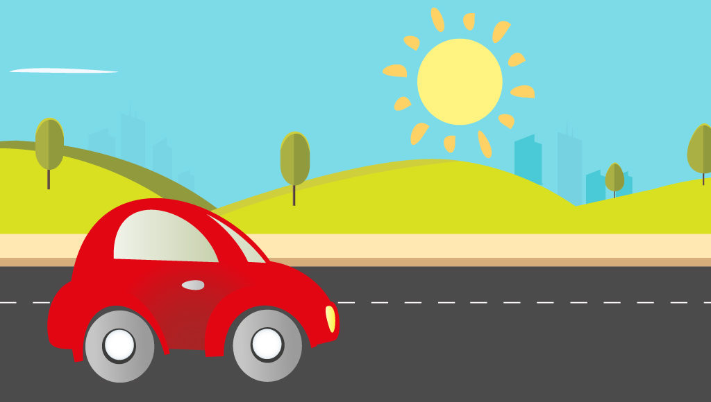 Zeichnung. Rotes Auto fährt auf der Straße. Die Sonne scheint stark vom Himmel.