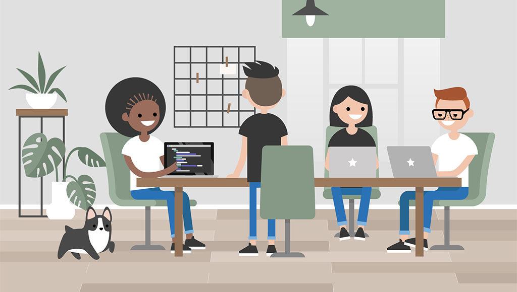 Auf der Illustration ist ein Besprechungsraum zu sehen, am Tisch sitzen vier Beschäftigte und halten ein Meeting ab. Daneben sitzt ein kleiner Hund.