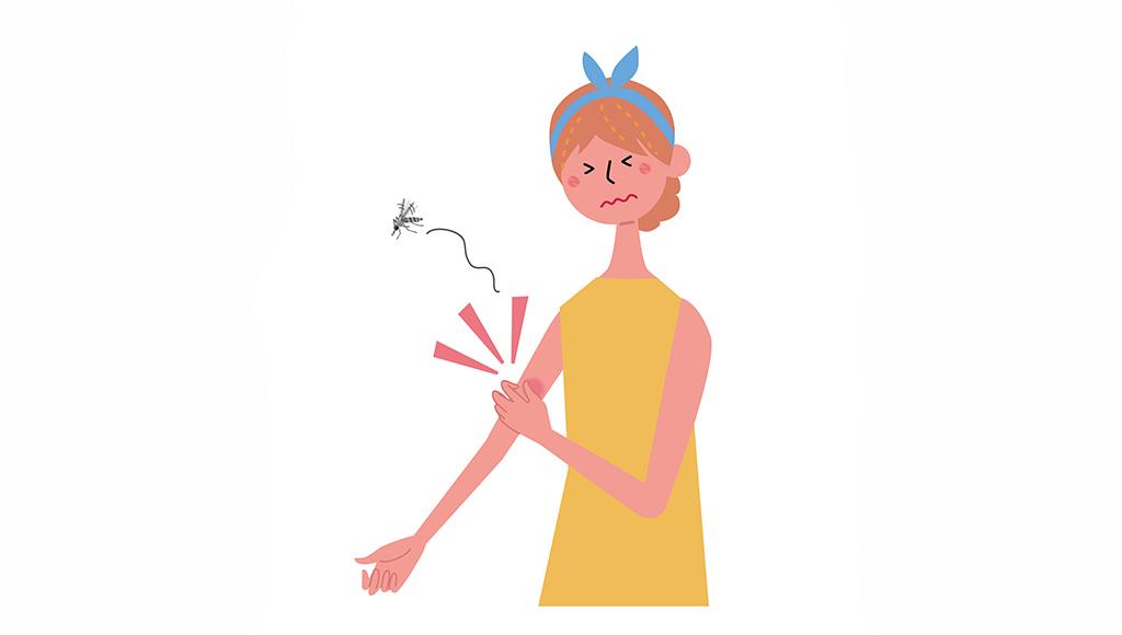 Zu sehen ist die Illustration einer Frau in gelbem Kleid, die gerade von einer Mücke am Arm gestochen wurde.