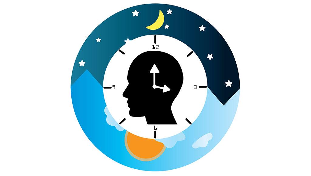 Zu sehen ist eine Grafik mit einer Uhr, in deren Mitte ein menschlicher Kopf dargestellt ist.