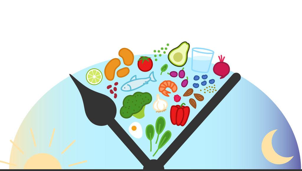 Zu sehen ist eine Illustration mit einer Uhr, zwischen den Zeigern sind viele Lebensmittel abgebildet, links und rechts davon jedoch keine.