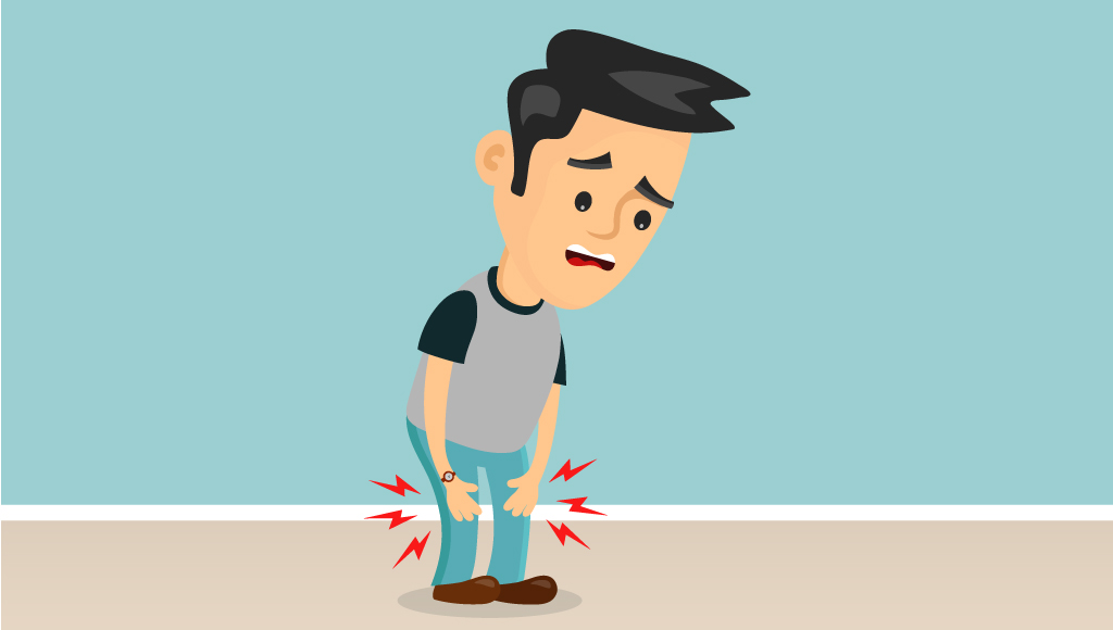 Eine Illustration von einem Mann, der sorgenvoll auf seine schmerzenden Knie schaut und diese mit seinen Händen berührt.