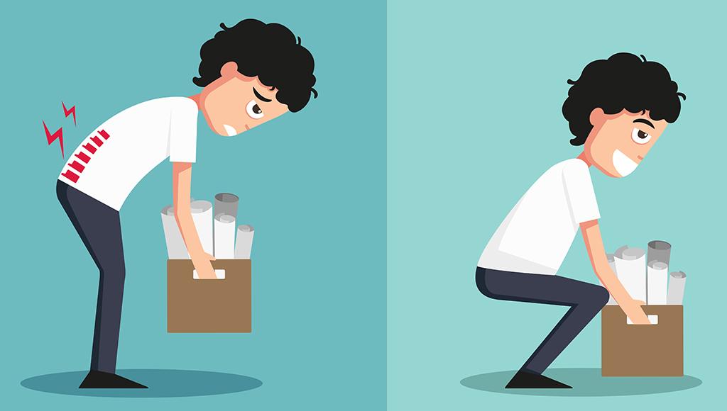 Zu sehen ist links ein Mann, der eine Last gebeugt hebt und unter Rückenschmerzen leidet. Rechts daneben hebt der selbe Mann eine Last aus der Hocke heraus und lacht.
