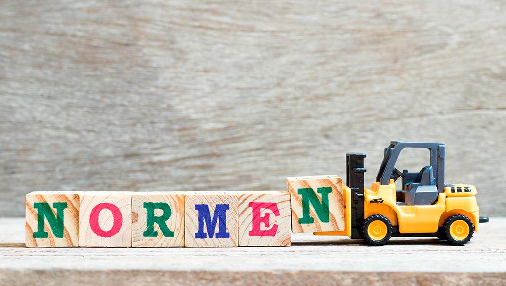 Ein Spielzeug Gabelstapler schiebt Buchstaben aus Spielzeug-Holzblöcken mit dem Aufzug NORMEN.