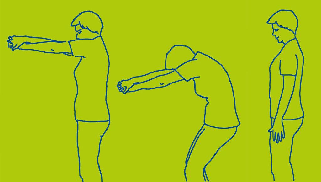 Übung. Gestreckte Arme in 90 Grad zum Körper. Gerader Rücken. Runder Rücken. Im Wechsel.
