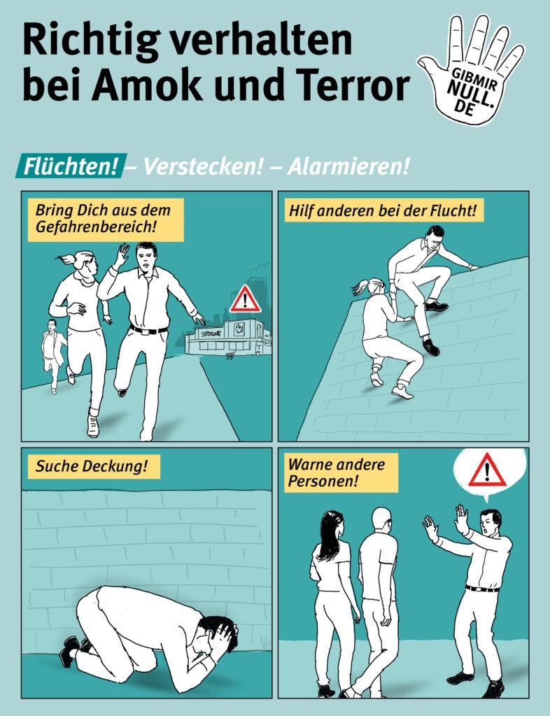 Grafiken zum richtigen Verhalten bei Amok und Terror. 1. Schritt: Flüchten.