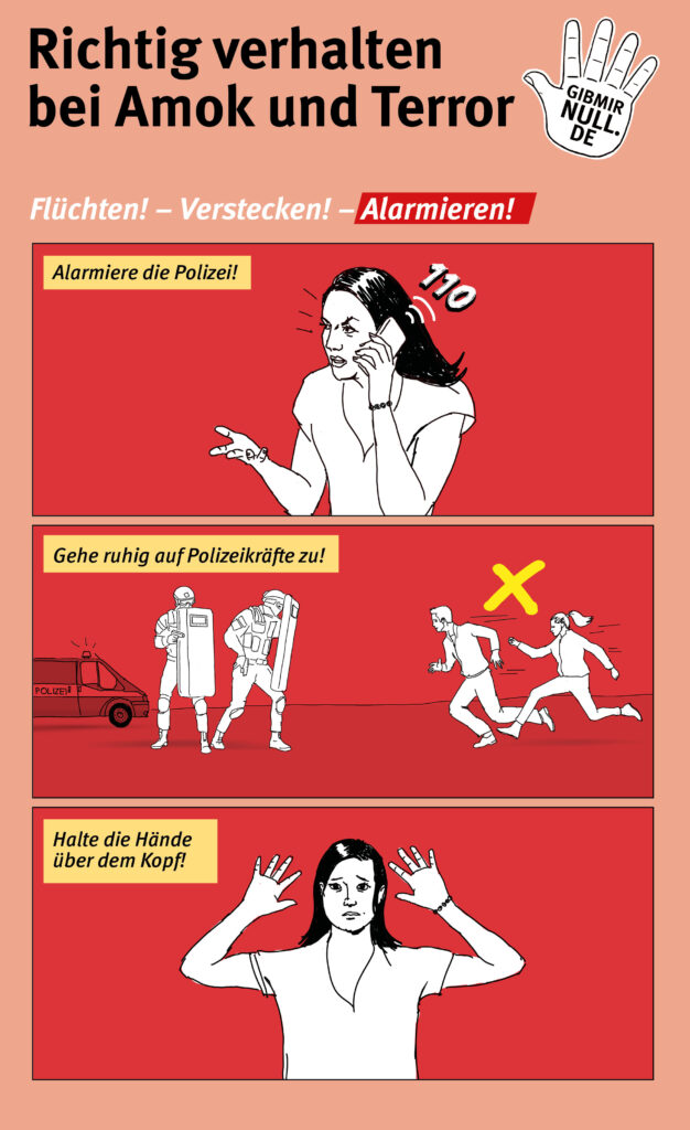 Grafiken zum richtigen Verhalten bei Amok und Terror. 3. Schritt: Alarmieren.