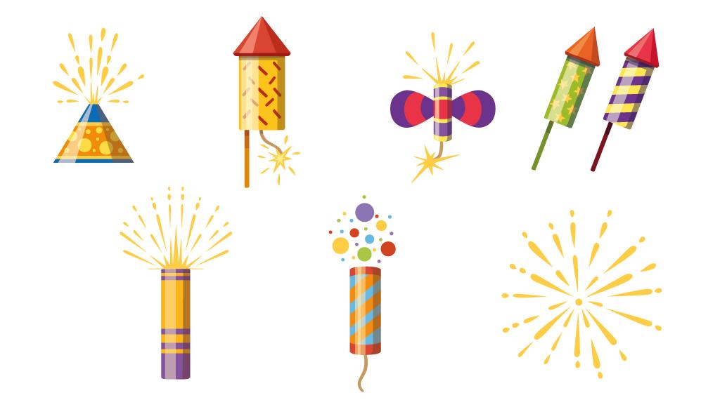 Zeichnung zeigt viele Silvester-Raketen