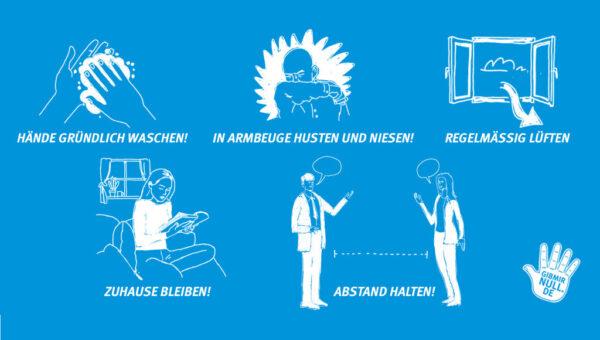 Collage mit 5 Regeln für GIB VIREN NULL CHANCE! Hände gründlich waschen! In Armbeuge husten und niesen! Regelmäßig lüften. Zuhause bleiben! Abstand halten!