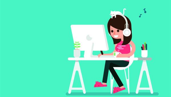 Zeichnung: Frau hat Kopfhörer an und sitzt im Home Office