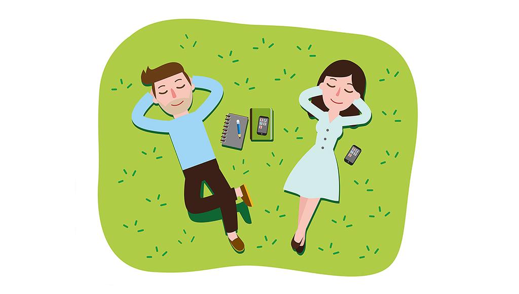 Zeichnung. Mann und Frau liegen auf einer Wiese. Arme verschränkt im Nacken. Augen geschlossen und entspannen.