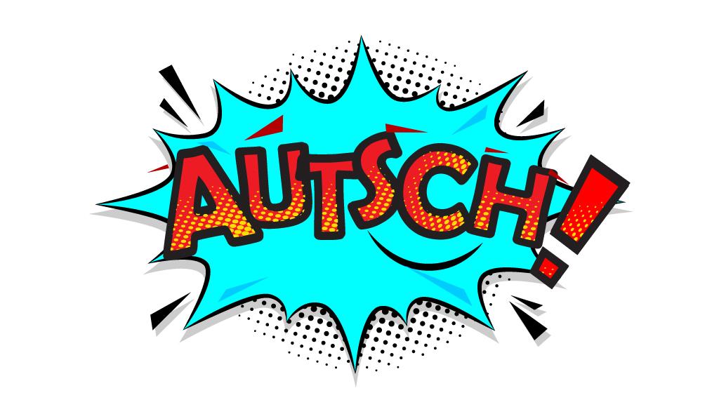 """Comic-Zeichnung mit dem Schriftzug """"Autsch"""""""