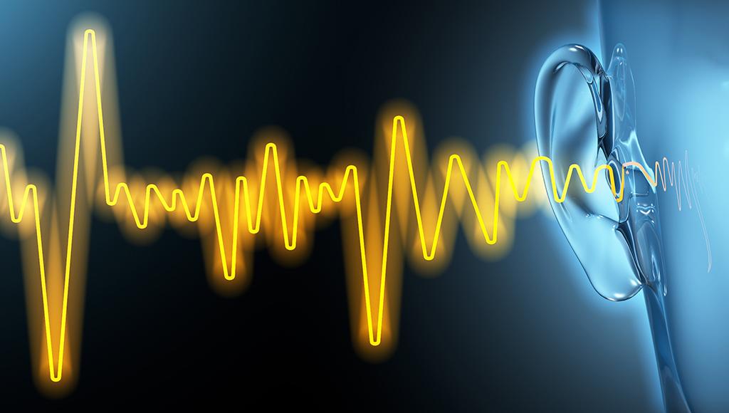 Fotomontage: Schallwellen erreichen das Ohr