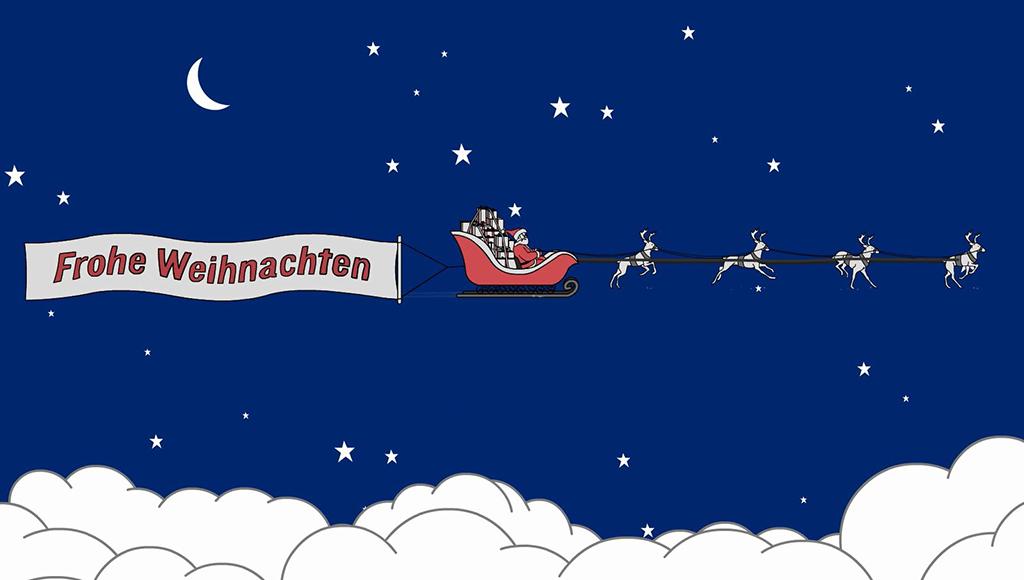 Zeichnung: Nikolaus am Sternenhimmel im Schlitten mit Rentieren. Banner: Frohe Weihnachten