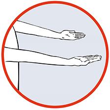 Grafik. Ausgestreckte Arme zeigen nach oben. Test Arme bei Schlaganfall.