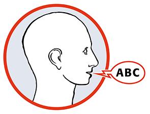 Grafik. Kopf. Seitenprofil mit Sprechblase ABC. Sprache bei Schlaganfall.