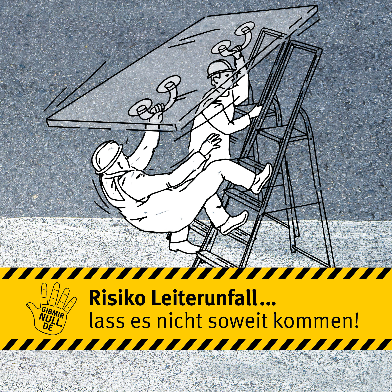 Zeichnung: Männer tragen Glasscheibe. Ein Mann stürzt dabei von einer Leiter.