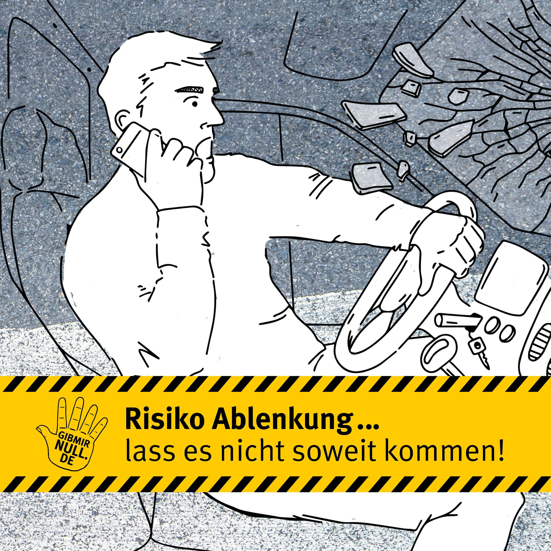 Zeichnung: ein Mann telefoniert während der Autofahrt