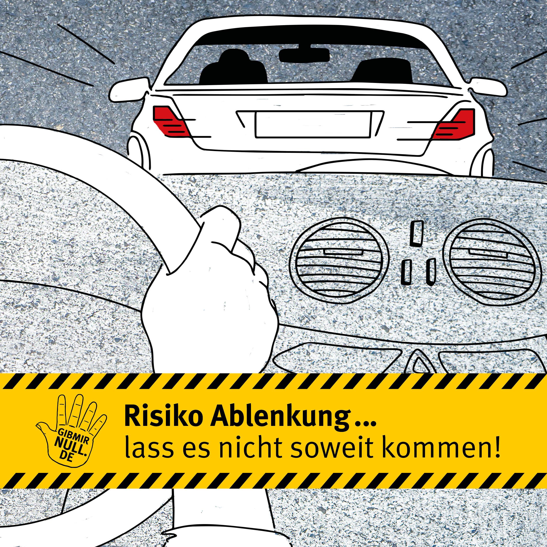 Zeichnung: Ablenkung im Straßenverkehr
