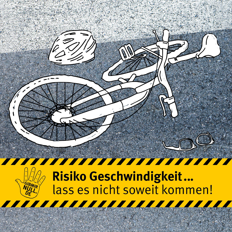 Zeichnung: Demoliertes Fahrrad liegt auf der Straße