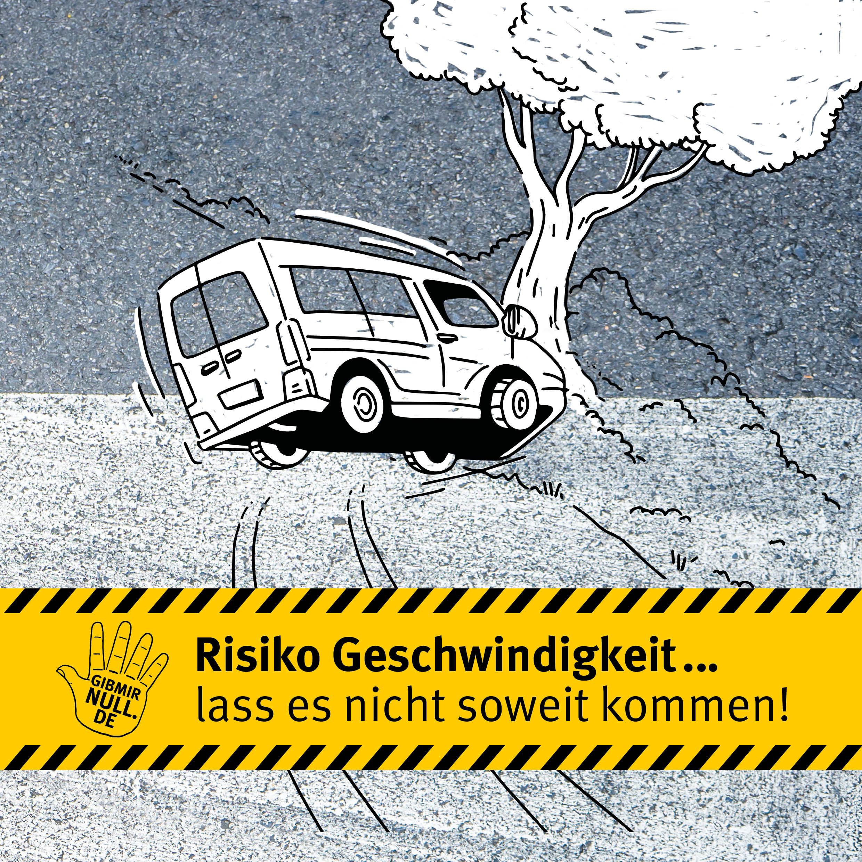 Zeichnung: Kleintransporter ist gegen einen Baum geprallt.