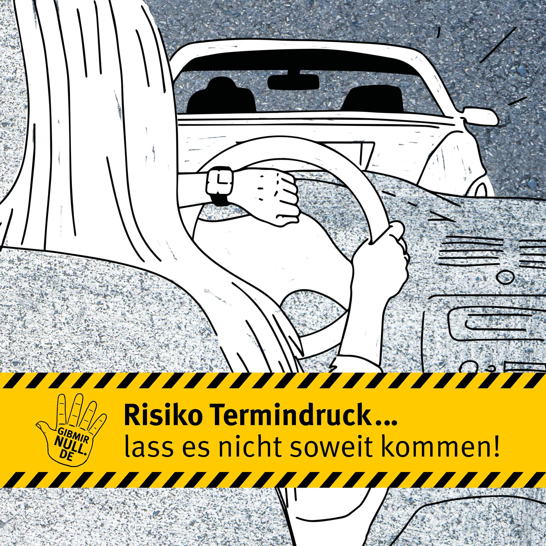 Zeichnung: Autofahrerin schaut auf die Uhr. Termindruck.