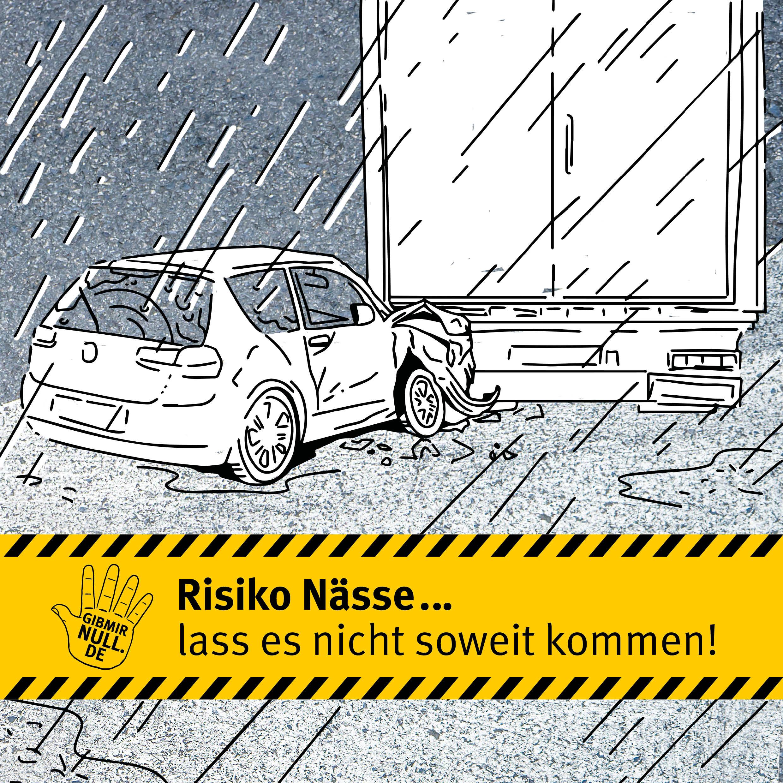 Zeichnung: Auto ist einem LKW aufgefahren. Risiko Nässe