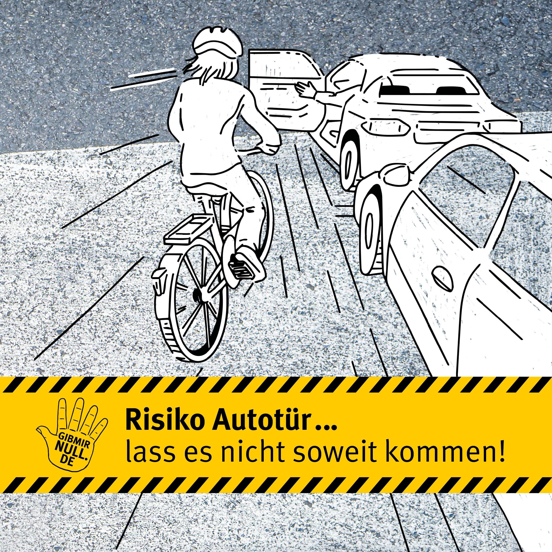 Zeichung: Fahrradfahrer. Plötzlich öffnende Autotür.